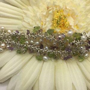 Jewelry - Sterling silver pearl peridot & amethyst bracelet